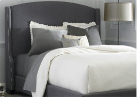Wing Shelter Upholstered Bed Queen - Dark Grey Linen