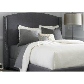 Wing Shelter Upholstered Bed Queen - Dark Grey Linen