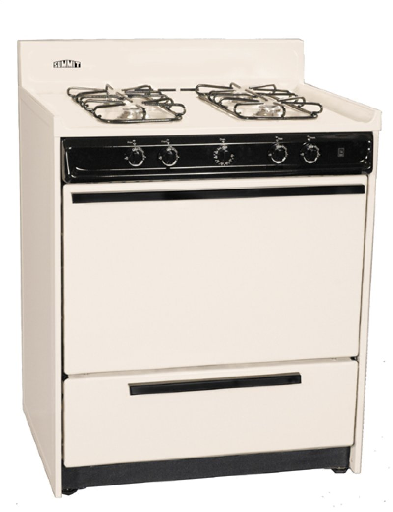 Bisque Gas Range With Pilot Light Ignition In 30 Width