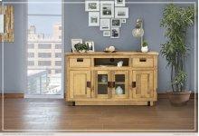 """60"""" TV Stand w/ 2 Drawer, 2 Glass Doors & 2 Wooden Doors"""