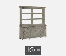Rustic Grey Parquet Welsh Dresser with Strap Handles