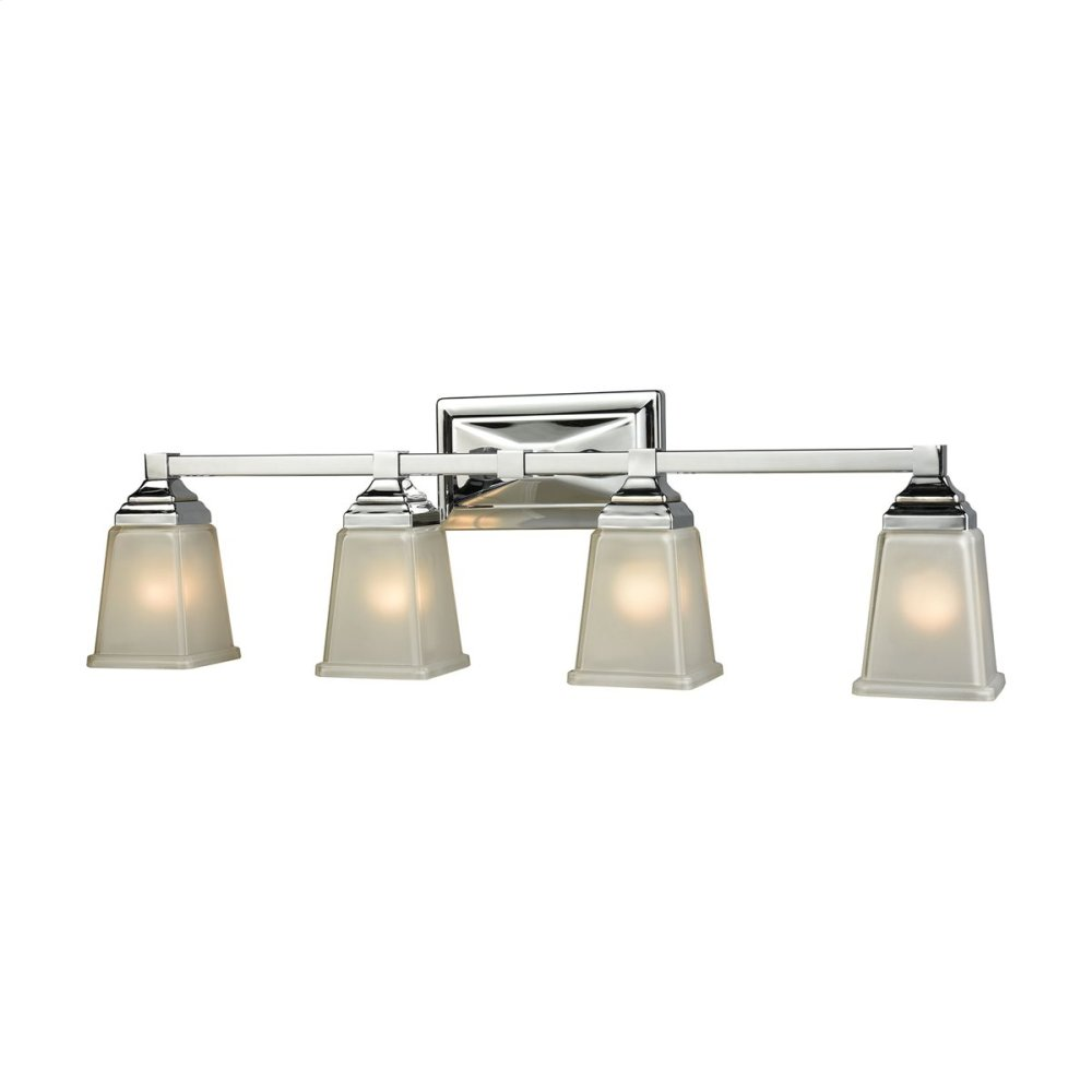 Sinclair 4-Light for the Bath in Polished Chrome with Frosted Glass