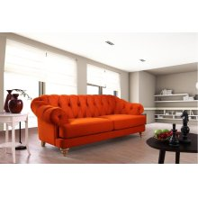 Divani Casa Monarch Modern Orange Tufted Fabric Sofa Set