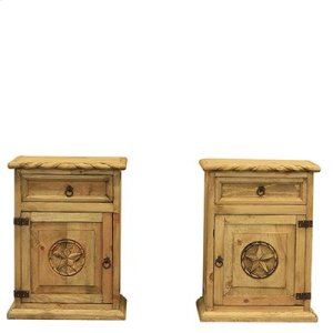 """Right : 22"""" x 16"""" x 30"""" Country Bed with Rope and Star Nighstands"""