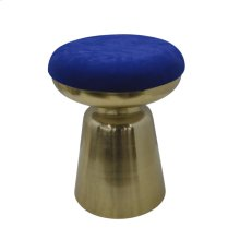 "Metal 18"" Cylinder Gold Stool,blue Cushion"
