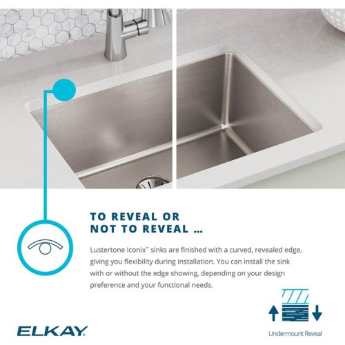 """Elkay Lustertone Iconix Stainless Steel 23-1/2"""" x 18-1/4"""" x 9"""", Single Bowl Undermount Sink with Perfect Drain"""