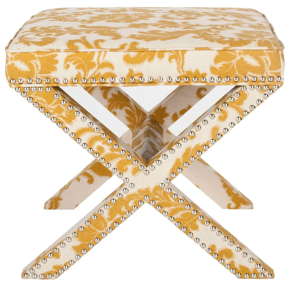 Palmer Ottoman - Silver Nail Heads - Maize And Beige Print