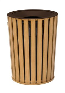 District Round Waste Receptacle, Faux Wood Slat