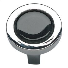 Spa Black Round Knob 1 1/4 Inch - Polished Chrome
