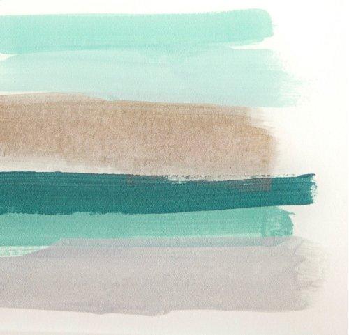 TY Blue Line Art Acrylic Framed Wall Decor w/Easel