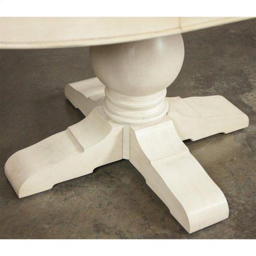 Aberdeen - Round Dining Table Pedestal - Weathered Worn White Finish