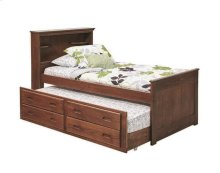 Heartland Twin Bookcase Captain's Bed with Trundle & Storage with options: Chocolate, Twin