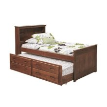 Heartland Full Bookcase Captain's Bed with Trundle & Storage with options: Chocolate, Full