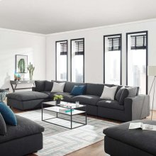Commix Down Filled Overstuffed 5 Piece Sectional Sofa Set in Gray