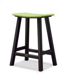 "Black & Lime Contempo 24"" Saddle Bar Stool"