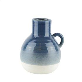 "Ceramic Handle Vase, 8.5"" Navy"