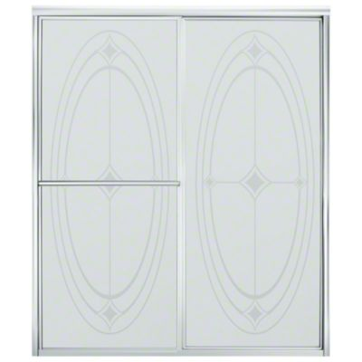"Deluxe Sliding Shower Door - Height 70"", Max. Opening 59-3/8"" - Silver with Ellipse Glass Pattern"