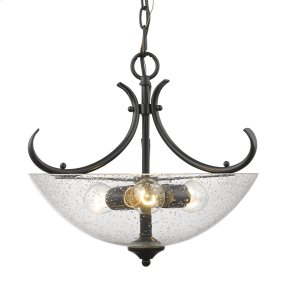 Parrish Semi-Flush (Convertible) in Black with Seeded Glass