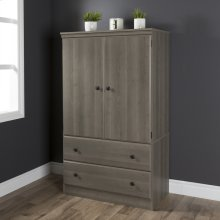 2-Door Armoire with Drawers - Gray Maple