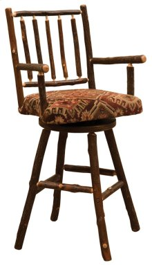 "Swivel Counter Stool - 24"" high - Natural Hickory - Standard Fabric"