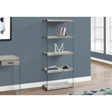 """BOOKCASE - 60""""H / GREY RECLAIMED WOOD-LOOK /GLASS PANELS"""