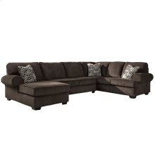 Signature Design by Ashley Jinllingsly 3-Piece Right Side Facing Sofa Sectional in Chocolate Corduroy [FSD-1949SEC-3RAFS-CHO-GG]