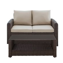 Wicker-Look Upholstered Outdoor Loveseat and Table Set in Chocolate Brown / Beige (Component 2 of 2)