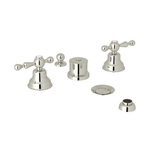 Polished Nickel Arcana Five Hole Bidet Faucet with Arcana Series Only Ornate Metal Lever