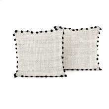 Square Style Black Fringe Trim Pillow, Set of 2