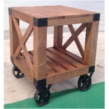 Industrial Natural Mango End Table