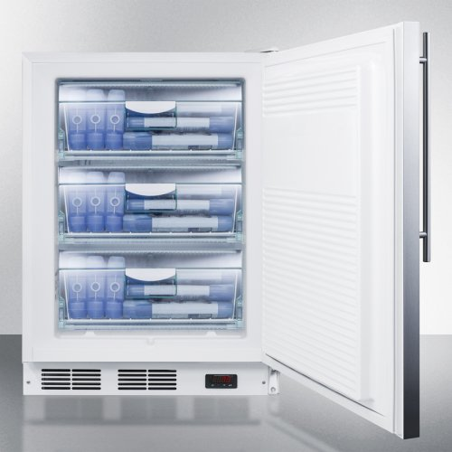 ADA Compliant Freestanding Medical All-freezer Capable of -25 C Operation, With Lock, Wrapped Stainless Steel Door and Thin Handle