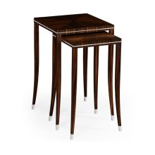 Macassar Ebony Nesting Tables with White Brass Detail