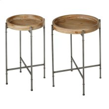 2 pc. set. Wooden Tray Table with Grey Legs.