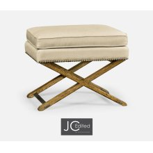 Rectangular Light Brown Chestnut Stool, Upholstered in MAZO