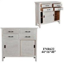 Bengal Manor Acacia Wood Sliding Door 4 Drawer Cabinet White Wash Finish