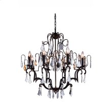 "1132 Charlotte Collection Chandelier D:32"" H:35"" Lt:8 Antique Bronze Finish (Royal Cut Crystals)"
