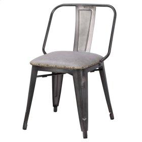 Brian KD PU Metal Side Chair, Vintage Mist Gray