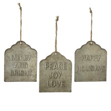 Galvanized Holiday Tags with Text Wall Decor. (6 pc. ppk.)
