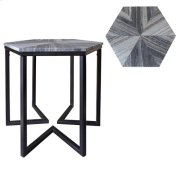 Bengal Manor Shaped Iron Base Hexagon Accent Table with Patterned Marble Top Product Image