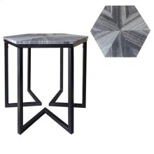 Bengal Manor Shaped Iron Base Hexagon Accent Table with Patterned Marble Top