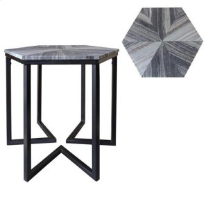 CRESTVIEW COLLECTIONSBengal Manor Shaped Iron Base Hexagon Accent Table with Patterned Marble Top