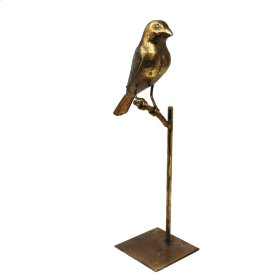 "Gold Bird On Stand 14.5"" Kd"