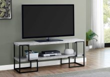 "TV STAND - 60""L / CEMENT-LOOK TOP / BLACK METAL"