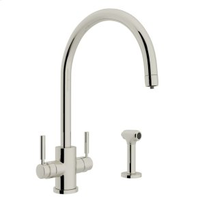 Polished Nickel Perrin & Rowe Holborn Filtration 2-Lever Kitchen Faucet With Sidespray with Modern Lux Metal Lever