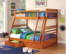 Twin / Full Wood Bunkbed with storage Drawers (Honey Oak)