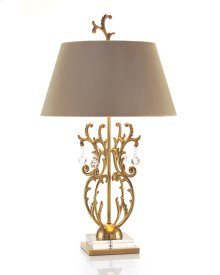 Brass Foliage with Crystal Drops Lamp