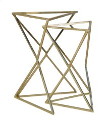 S/2 Gold Triangle Accent Tables, Glass