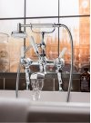 Waldorf White Lever Exposed Two Handle Tub Faucet with Handshower - Polished Nickel