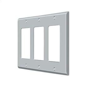 Switch Plate, Triple Rocker - Brushed Chrome