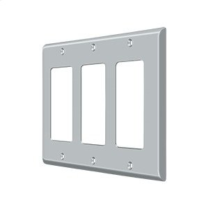 Switch Plate, Triple Rocker - Brushed Chrome